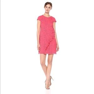 NWT Vince Camuto Lace Ruffle Coral Shift Dress
